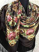 Павлопосадский коричневый платок с бахромой и цветочным народным орнаментом