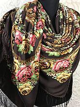 Павлопосадский коричневий хустку з бахромою і квітковим народним орнаментом