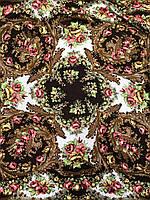 Павлопосадский коричневый платок с бахромой и цветочным народным орнаментом - купить на Kosinka.net