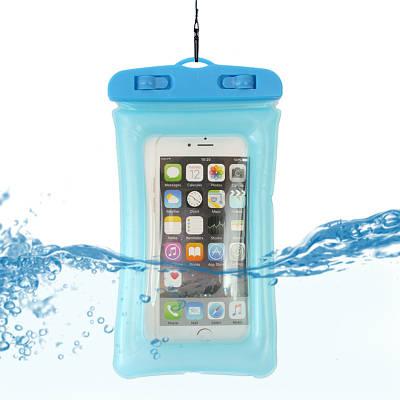 Водонепроницаемый чехол для телефона с ремешком голубой 150047