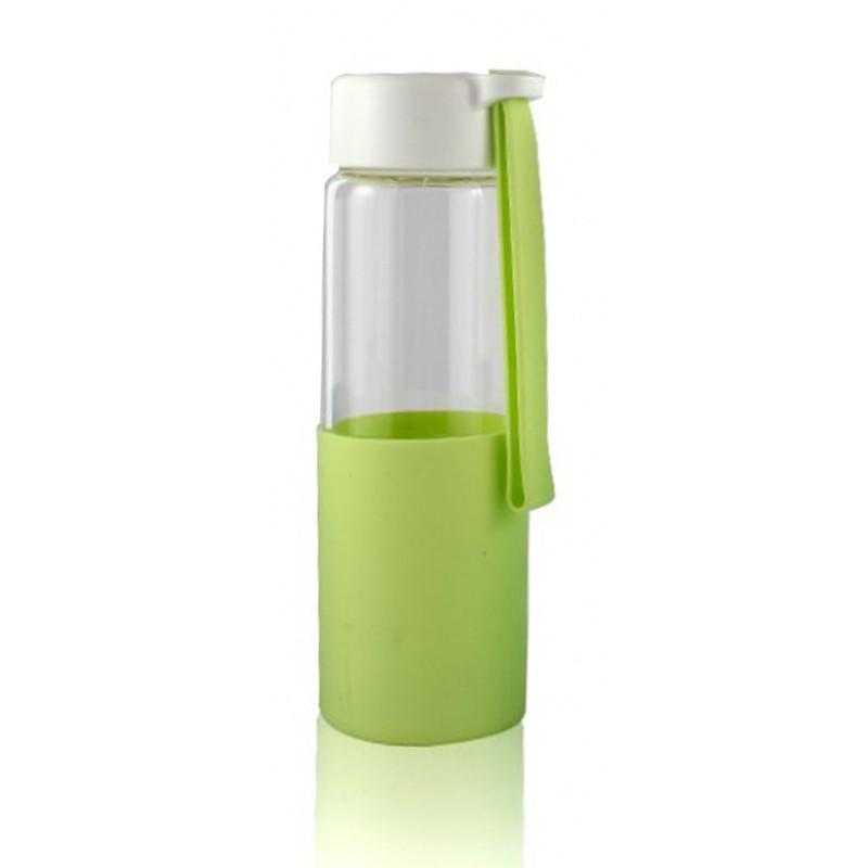 Стеклянная бутылочка для воды с силиконом Muse салатовая