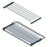 S -5162-3, сушка для посуды с пластиковым поддоном 900мм, 860х295-345, алюминиевая рамка. серая