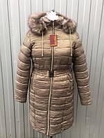 Куртка-пальто миди женская зимняя из жатой плащевки, батал размеры 48-68