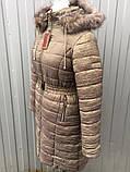 Куртка-пальто міді жіноча зимова з жатой плащівки, батал розміри 48-68, фото 2
