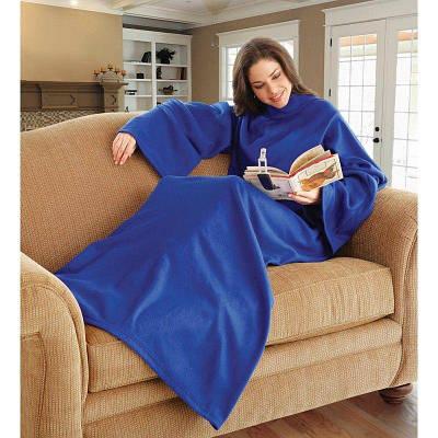 Плед с рукавами одеяло из флиса Snuggie синий 183280