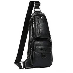 Сумка рюкзак через плечо мужская Jeep Bags 777 Черная 151037