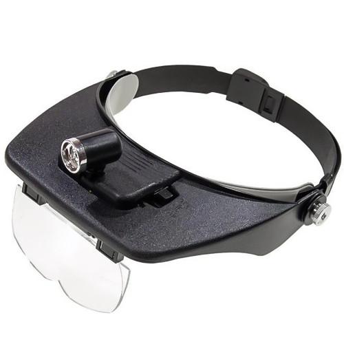 MG81001 лупа бінокулярна з LED підсвічуванням, 4 змінні лінзи, пластик: 1.2 Х 1.8 Х, 2.5 Х, 3.5 Х