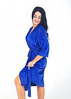 Женский халат на запах цвета электрик