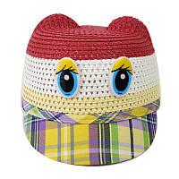 Детская летняя шляпка с козырьком на застежке красная 150224, фото 1