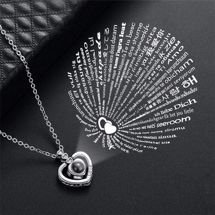 Кулон Сердечко с проекцией с надписью Я тебя люблю на 100 языках мира Серебро 169505