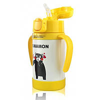 Детский бутылочка для воды с ручками и поилкой Kumamom желтый 148918