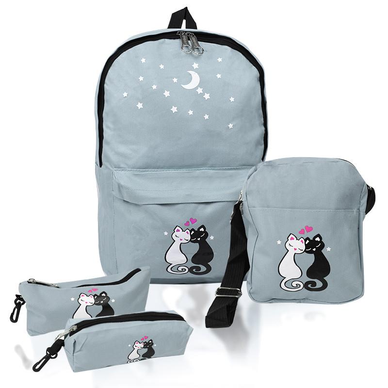 Міський рюкзак для дівчаток 4 предмета Котики сірий 154086