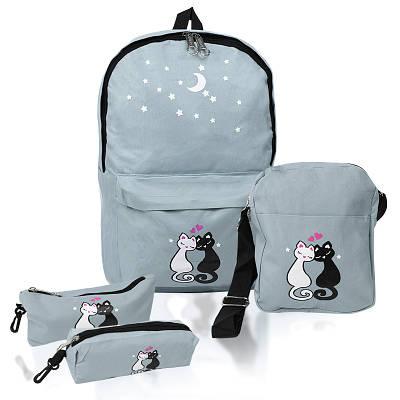 Городской рюкзак для девочек 4 предмета Котики серый 154086