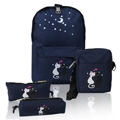 Городской рюкзак для девочек 4 предмета Котики синий 154083