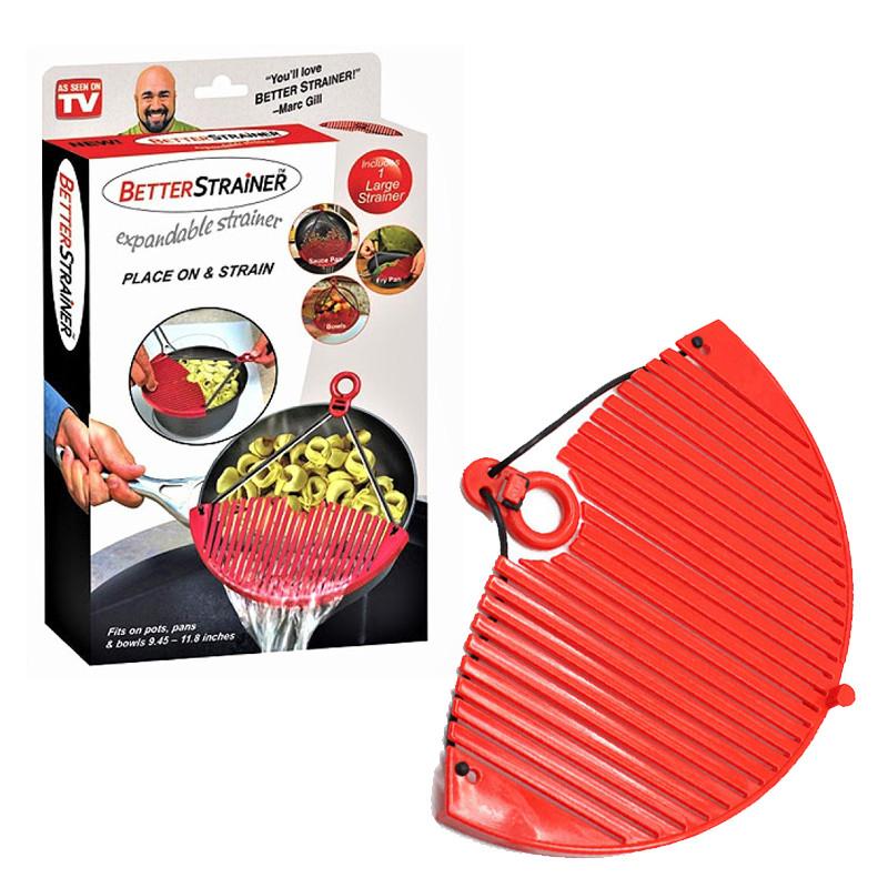 Кухонный силиконовый дуршлаг накладка для слива воды Better Strainer 130245