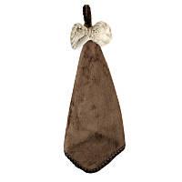 Махровое полотенце для рук Бантик 34х34 см SH88223 коричневое 132176