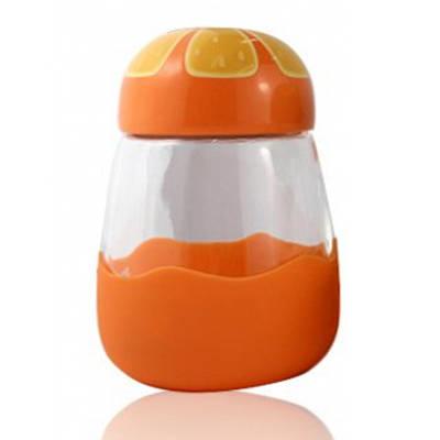 Термокружка из стекла в силиконвой защите с крышкой Fruits апельсин 132000