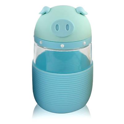 Термокружка из стекла в силиконовой защите с крышкой и ремешком Piggy голубая 148958