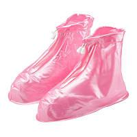 Дождевики для обуви, бахилы от дождя, чехлы для обуви Размер XL Розовый 183553, фото 1