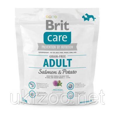 Сухой корм для взрослых собак мелких и средних пород (весом до 25 кг) Brit Care GF Adult Salmon & Potato 1 кг
