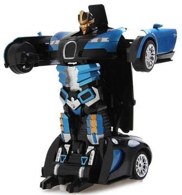 Машинка трансформер с пультом Bugatti Robot Car Size 118 Синяя 154262