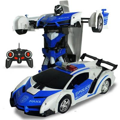Машинка Трансформер с пультом Lamborghini Police Robot Car Size 118 Синяя 183122