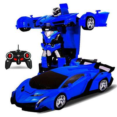 Машинка Трансформер с пультом Lamborghini Robot Car Size 118 Синяя 183120