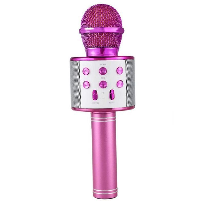 Микрофон караоке Bluetooth WS858 pink малиновый 154642