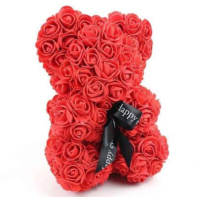 Мишка из искусственных 3D роз в подарочной упаковке 25 см красный 133946