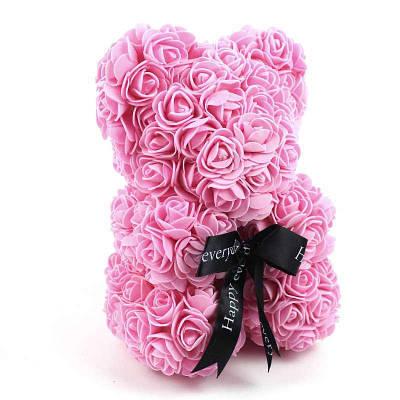 Мишка из искусственных 3D роз в подарочной упаковке 25 см розовый 140099