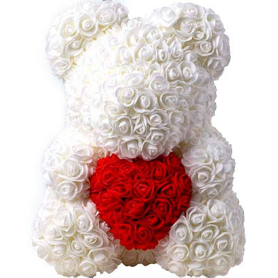 Мишка из искусственных 3D роз в подарочной упаковке 40 см белый 141038