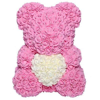 Мишка из искусственных 3D роз в подарочной упаковке 40 см розовый 141037