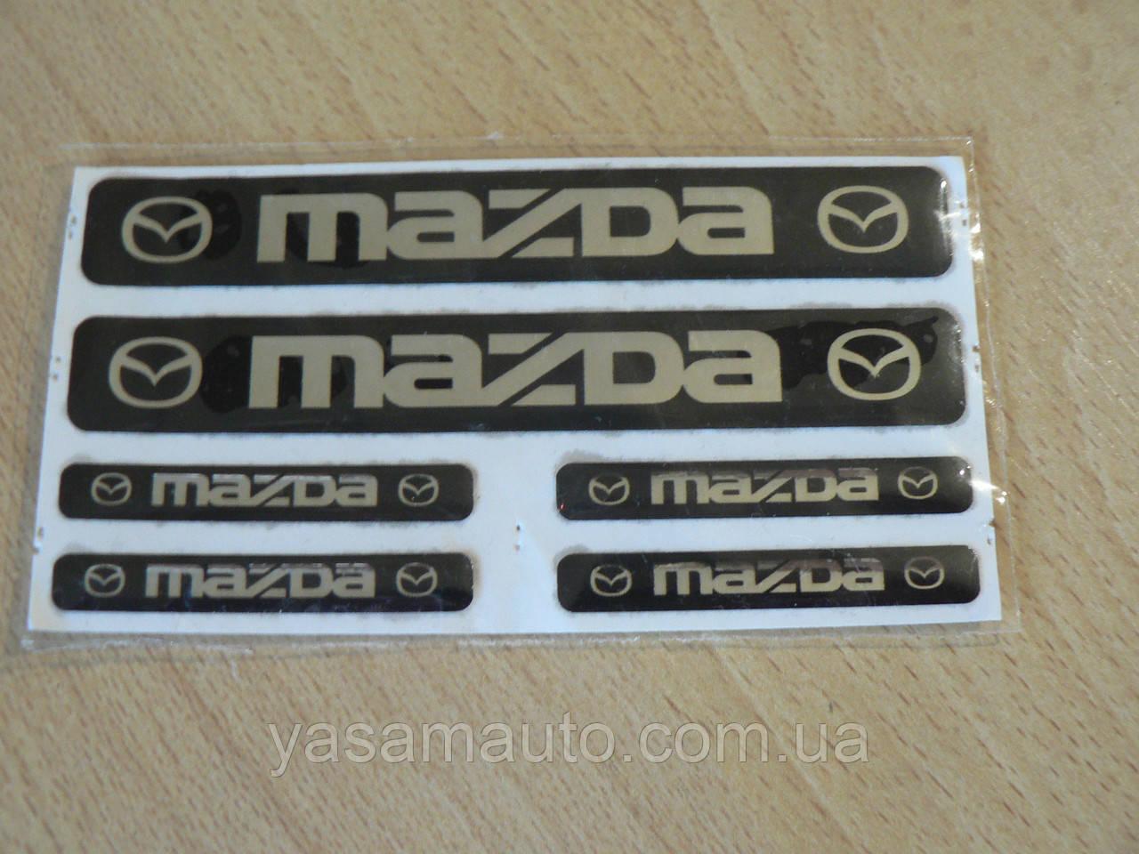 Наклейка s маленькая Mazda набор 6шт силиконовая Уценка приподнимаются бока эмблема логотип Мазда на авто