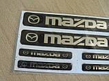 Наклейка s маленькая Mazda набор 6шт силиконовая Уценка приподнимаются бока эмблема логотип Мазда на авто, фото 2