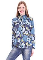 Красивая, практичная синяя рубашка из джинса с ярким рисунком