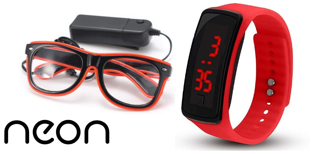Окуляри NEON прозорі El Neon red + Годинник