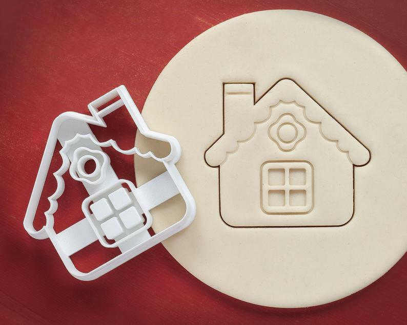 Новогодняя 3D формочка Домик   Новогодняя вырубка   Вырубка для печенья новогодняя