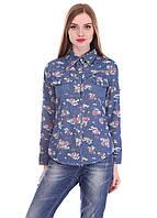 Красивая, практичная синяя рубашка из джинса с ярким рисунком синий 2