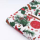 """Тканина новорічна """"Пуансеттія з корицею"""" на білому тлі №3053, фото 5"""