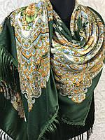 Шерстяной зеленый Павлопосадский платок с бахромой и цветочным народным орнаментом