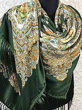 Вовняний зелений Павлопосадский хустку з бахромою і квітковим народним орнаментом