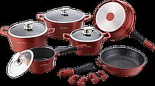 Набір кухонного посуду Royalty Line RL-ES2014M Burgundy 14pcs мармурове покриття