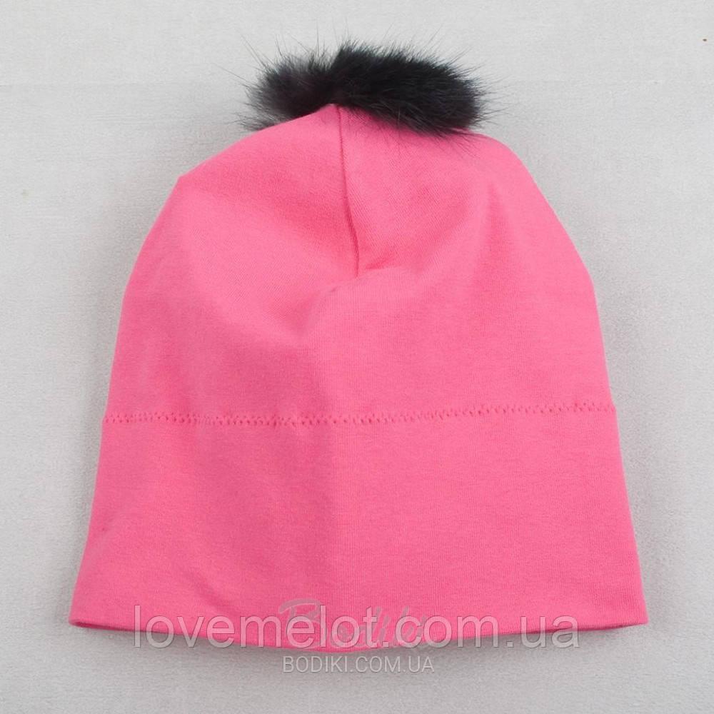 Детская трикотажная шапочка демисезонная шапка розовая, 6-9 мес.12-18 мес.