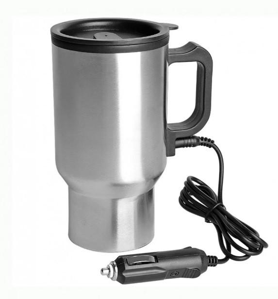 Термокружка CUP 2240 автомобільна з підігрівом 12V NEW Металік