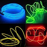 Гнучкий світлодіодний неон Синій Neon Glow Light Blue - 3 метра стрічки на батарейках 2 AA, фото 5