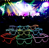 Окуляри світлодіодні прозорі El Neon ray red неонові, фото 3