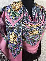 Шерстяной розовый Павлопосадский платок с бахромой и цветочным народным орнаментом, фото 1