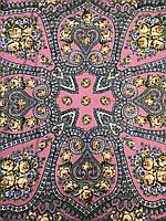 Шерстяной розовый Павлопосадский платок с бахромой и цветочным народным орнаментом - купить на Kosinka.net