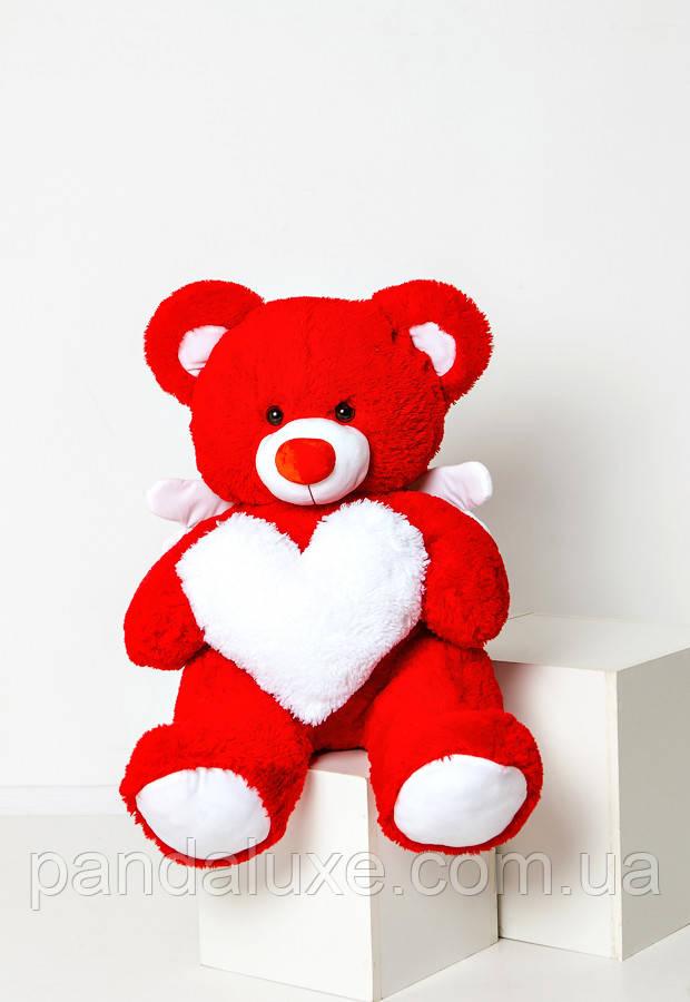 Мягкая игрушка медведь большой плюшевый красный мишка с сердцем и крылышками 150см