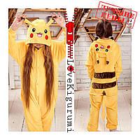 Оригинальные пижамы кигуруми Покемон Пикачу для мальчиков и девочек все размеры в наличии